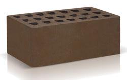Кирпич темно-коричневый полуторный (250х120х88) производства ЗАО «Железногорский кирпичный завод». Железногорский кирпич производится на испанских производственных линиях. Это оборудование позволяет достичь устойчивости окрашивания поверхности материала, точности его геометрии, морозостойкости F35-50 и низкого коэффициента теплопроводности.